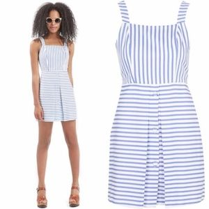 TOPSHOP Striped Pinafore Button Dress
